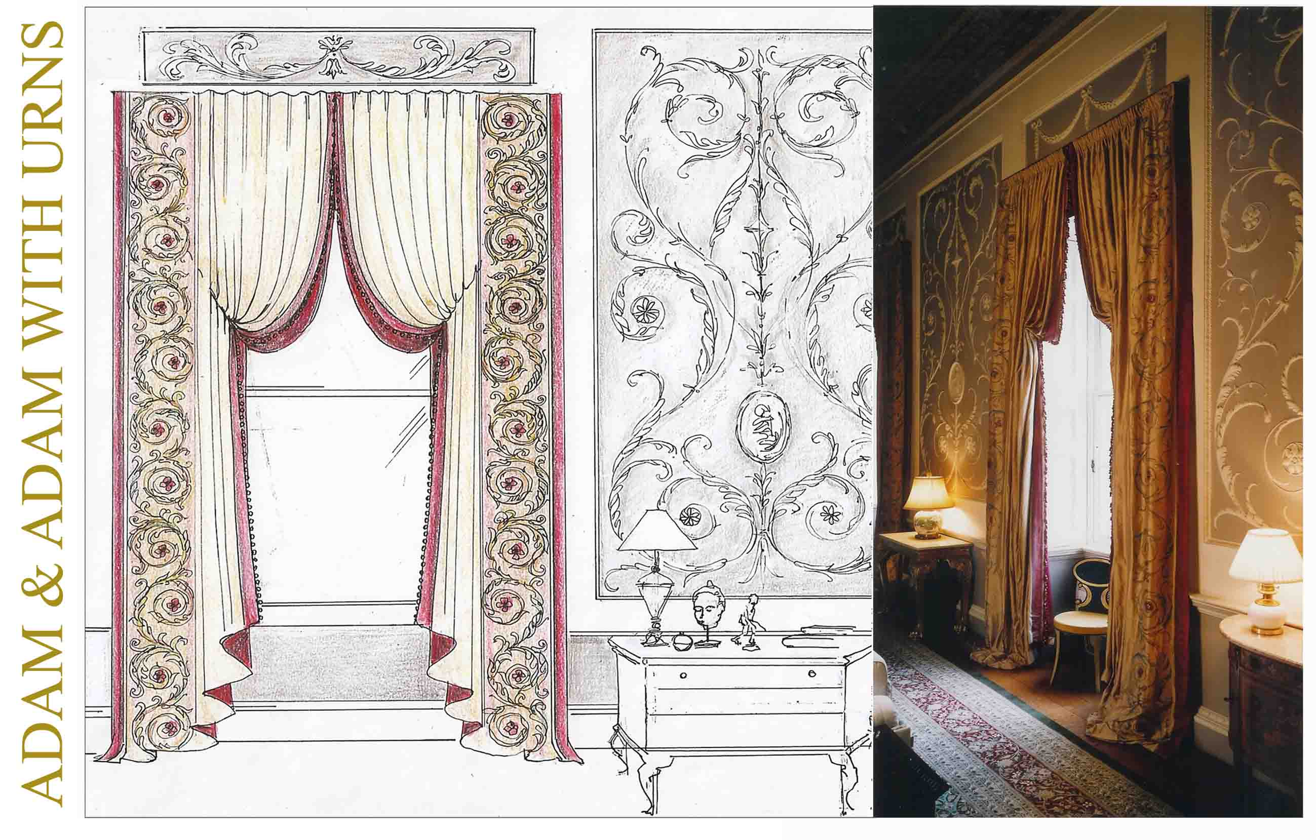 ... curtains with ADAM borders hand painted onto outside edges (right