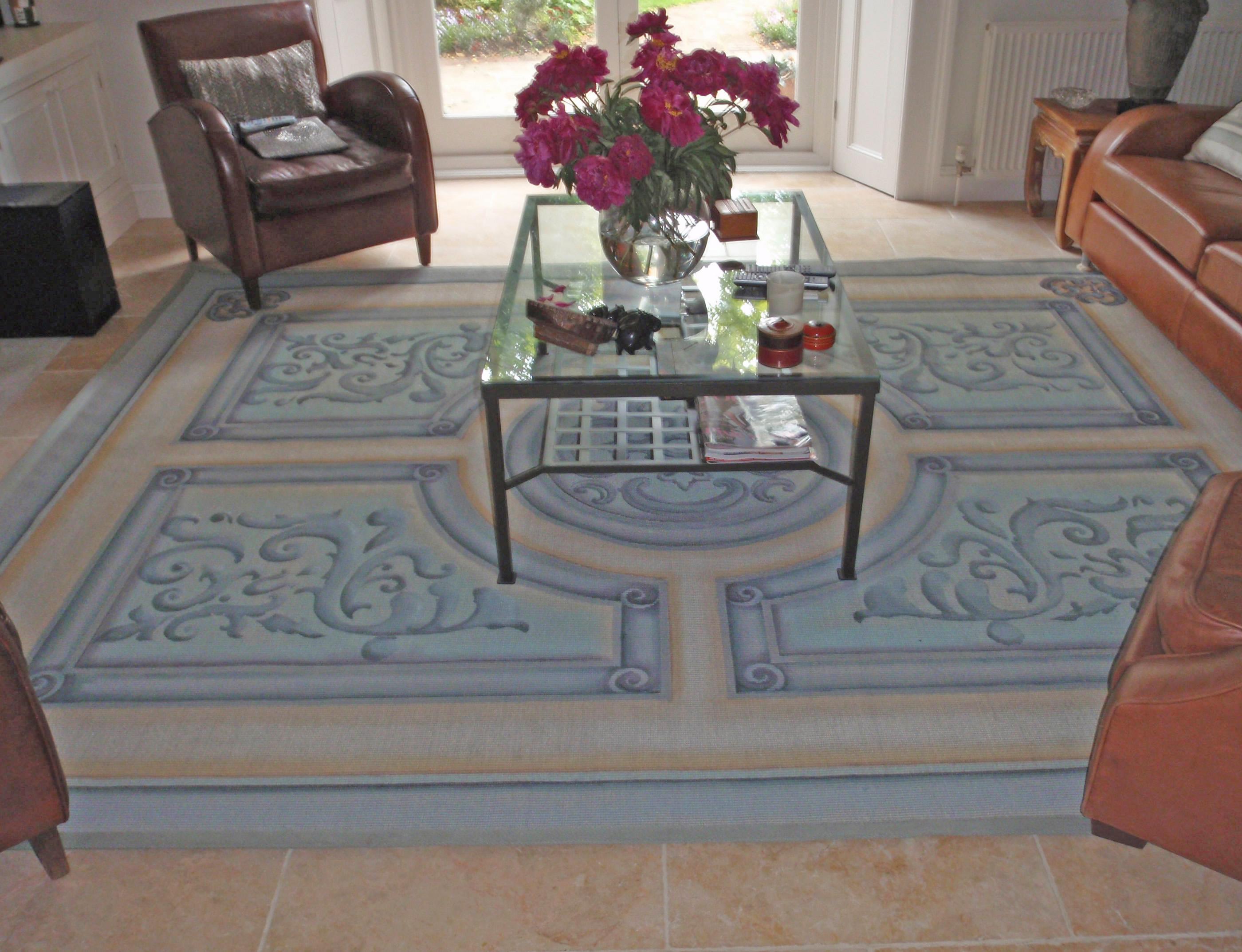 Painted sisal rug